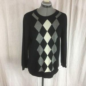 J.Crew Black Argyle Merino Wool Sweater Size L